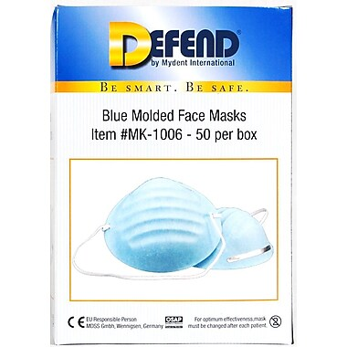 Defend® Premium Molded Cone Face Mask With Ear Loop, Blue