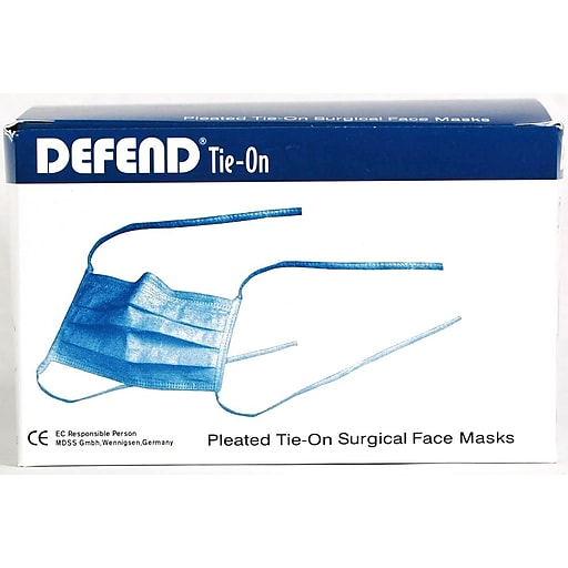 """Defend® Anti-Fog """"Diffuser"""" Pleated Tie-On Face Mask With Ear Loop, Blue"""
