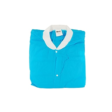 Defend® Sanax Knee Length Disposable/Reusable Lab Coat With Knit Collar & Cuffs, Small, Blue