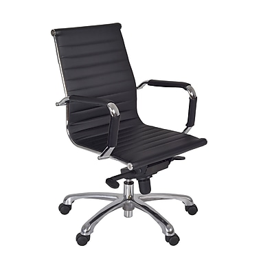 Regency Leather Executive Office Chair, Fixed Arms, Black (1015BK)