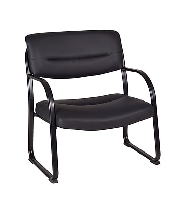 Regency Leather Side Chair with Arm, Black