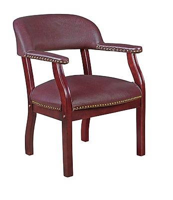 Regency Ivy League Wood Bankers Office Chair, Fixed Arms, Burgundy (9004BY)