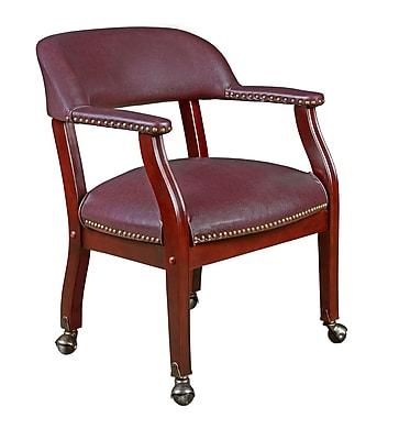 Regency 9004CBY Vinyl & Wood Ivy League Captains Chair with Arm, Burgundy