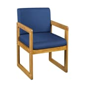Regency Sled Base Side Chair with Arms Wood & Fabric Chair, B61715MWBE