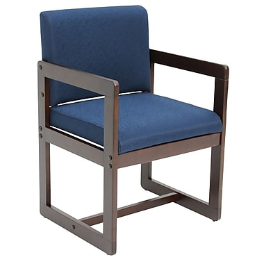 Regency Sled Base Side Chair with Arms Wood & Fabric Chair, Blue (B61715MWBEK)
