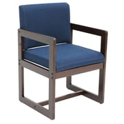 Regency Sled Base Side Chair with Arms Wood & Fabric Chair, Blue (B61715MWBE)