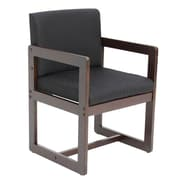 Regency Sled Base Side Chair with Arms Wood & Fabric Chair, Black (B61715MWBK)
