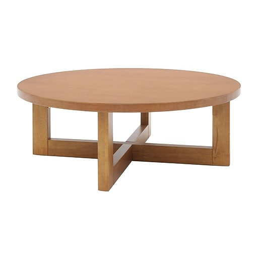 Regency Wood Round Veneer Coffee Table, Medium Oak