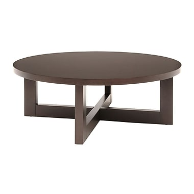 Regency Wood Round Veneer Coffee Table, Mocha Walnut (HWTC3713MW)