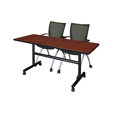 Regency 60'' Rectangular Training Table and Chairs, Cherry with Apprentice Chairs (MKFT6024CH09BK)