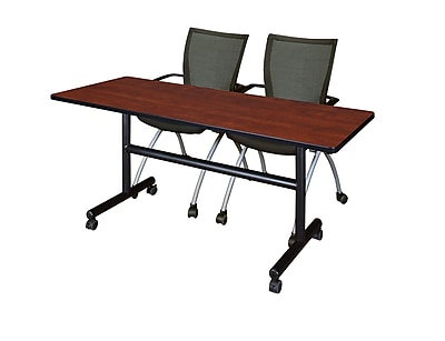 Regency 60'' Rectangular Training Table and Chairs, Cherry w/ Apprentice Chairs (MKFT6024CH09BK)