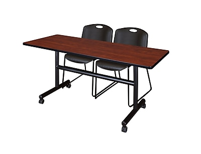 Regency 60'' Rectangular Training Table and Chairs, Cherry w/ Zeng Chairs (MKFT6024CH44BK)