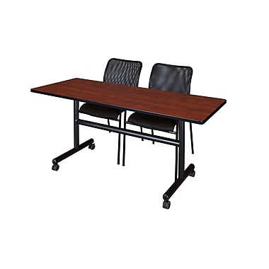 Regency 60'' Rectangular Training Table and Chairs, Cherry with Mario Chairs (MKFT6024CH75BK)