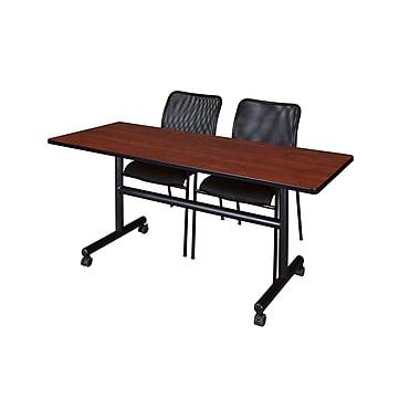 Regency 60'' Rectangular Training Table and Chairs, Cherry w/ Mario Chairs (MKFT6024CH75BK)