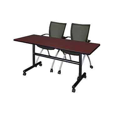 Regency 60'' Rectangular Training Table and Chairs, Mahogany with Apprentice Chairs (MKFT6024MH09BK)