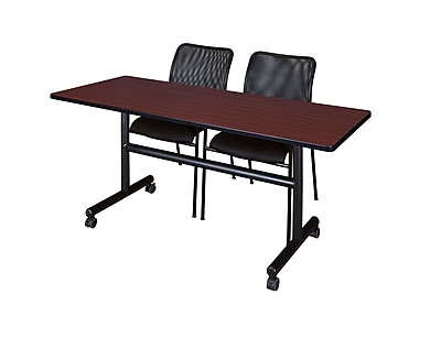 Regency 60'' Rectangular Training Table and Chairs, Mahogany w/ Mario Chairs (MKFT6024MH75BK)