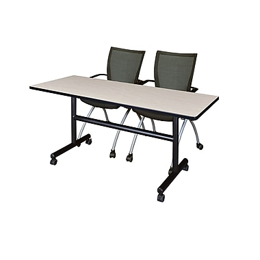 Regency 60'' Rectangular Training Table and Chairs, Maple w/ Apprentice Chairs (MKFT6024PL09BK)
