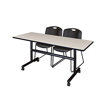 Regency Kobe 60'' Rectangular Training Table and Chairs, Maple with Zeng Chairs (MKFT6024PL44BK)
