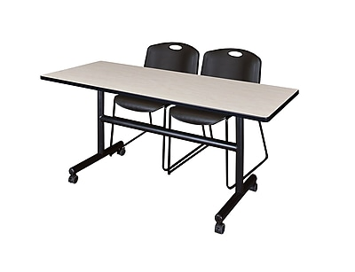 Regency Kobe 60'' Rectangular Training Table and Chairs, Maple w/ Zeng Chairs (MKFT6024PL44BK)
