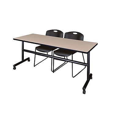 Regency Kobe 72'' Rectangular Training Table and Chairs, Woodtone with Zeng Chairs (MKFT7224BE44BK)