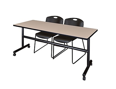 Regency 72-inch Metal & Wood Kobe Flip Top Training Table with Zeng Stack Chairs , Beige