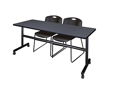 Regency 72-inch Metal & Wood Kobe Flip Top Training Table with Zeng Stack Chairs , Gray