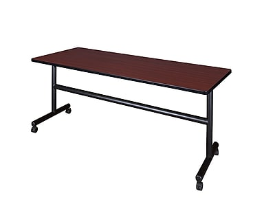 Regency 72-inch Metal & Wood Flip Top Mobile Training Table, Mahogany