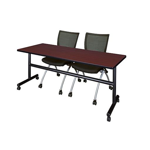 "Regency Kobe 72"" Flip Top Mobile Training Table, Mahogany & 2 Apprentice Chairs (MKFT7224MH09BK)"