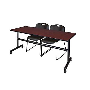 Regency Kobe 72'' Rectangular Training Table and Chairs, Mahogany with Zeng Chairs (MKFT7224MH44BK)