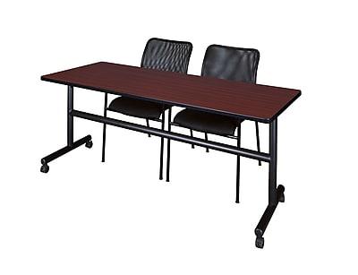 Regency Kobe 72'' Rectangular Training Table and Chairs, Mahogany w/ Stack Chairs (MKFT7224MH75BK)