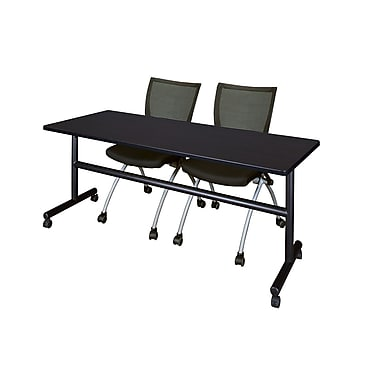 Regency 72-inch Metal & Wood Flip Top Mobile Rectangular Training Table with Apprentice Nesting Chair, Mocha Walnut