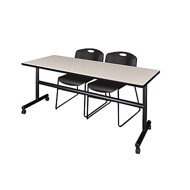 Regency Kobe 72'' Rectangular Training Table and Chairs, Maple with Zeng Chairs (MKFT7224PL44BK)