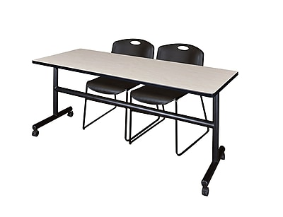 Regency Kobe 72'' Rectangular Training Table and Chairs, Maple w/ Zeng Chairs (MKFT7224PL44BK)