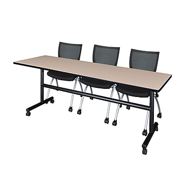 Regency Kobe 84'' Rectangular Training Table and Chairs, Woodtone with Apprentice Chairs (MKFT8424BE09BK)