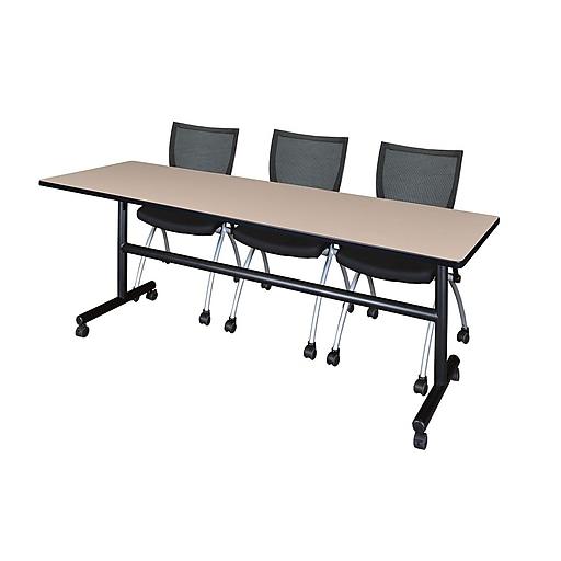 Regency 84-inch Metal & Wood Kobe Flip Top Training Table with Apprentice Chairs, Beige