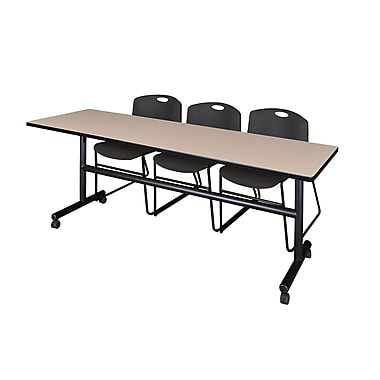 Regency 84'' Rectangular Training Table and Chairs, Woodtone with Stack Chairs (MKFT8424BE44BK)