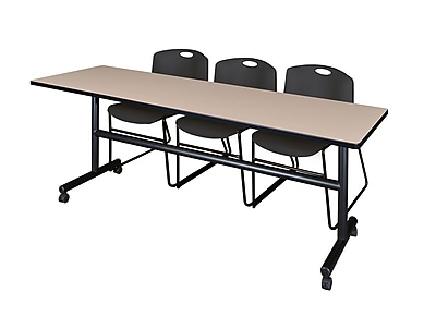 Regency 84'' Rectangular Training Table and Chairs, Woodtone w/ Stack Chairs (MKFT8424BE44BK)