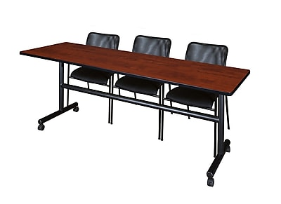 Regency 84'' Rectangular Training Table and Chairs, Cherry w/ Mario Chairs (MKFT8424CH75BK)