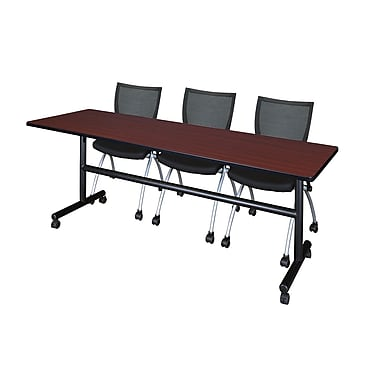 Regency Kobe 84'' Rectangular Training Table and Chairs, Mahogany with Apprentice Chairs (MKFT8424MH09BK)