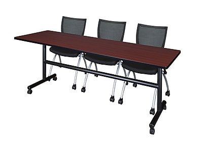 Regency Kobe 84'' Rectangular Training Table and Chairs, Mahogany w/ Apprentice Chairs (MKFT8424MH09BK)