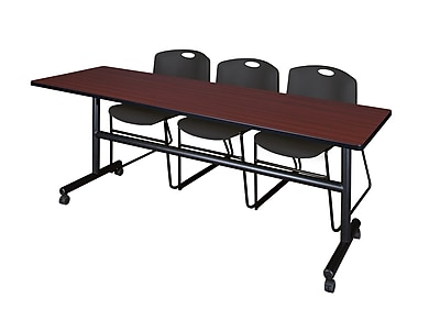 Regency 84-inch Laminate, Metal, Plastic & Wood Training Table with Stack Chairs , Mahogany