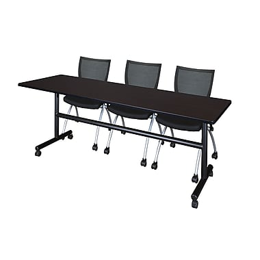 Regency Kobe 84'' Rectangular Training Table and Chairs, Mocha Walnut with Apprentice Chairs (MKFT8424MW09BK)