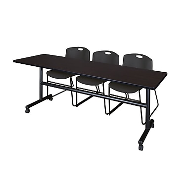 Regency 84-inch Laminate, Metal, Plastic & Wood Training Table with Stack Chairs , Mocha Walnut