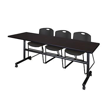 Regency – Table de formation 84 po en stratifié, métal, plastique et bois avec chaises empilables, noyer moka (MKFT8424MW44BK)