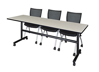 Regency Kobe 84'' Rectangular Training Table and Chairs, Maple w/ Apprentice Chairs (MKFT8424PL09BK)