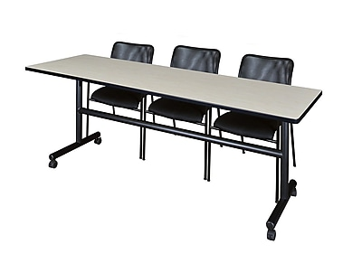 Regency 84'' Rectangular Training Table and Chairs, Maple w/ Mario Chairs (MKFT8424PL75BK)