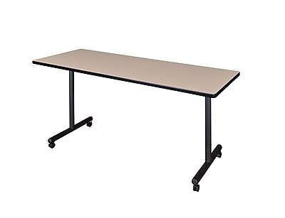 Regency 66-inch Laminate, Metal & Wood Kobe Mobile Rectangular Training Table, Beige