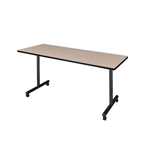Regency 66-inch Laminate, Metal & Wood Kobe Mobile Rectangular Training Table, Beige