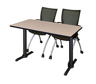 Regency 48-inch Metal & Wood Training Table with Apprentice Chairs, Beige