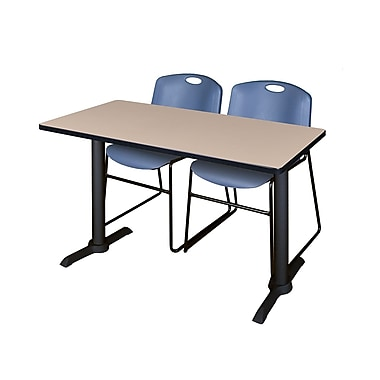 Regency Cain 48'' Rectangular Training Table and Chairs, Woodtone with Zeng Chairs (MTRCT4824BE44BE)